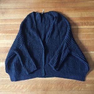 Free People Dark Gray Waffle Knit Sweater Small